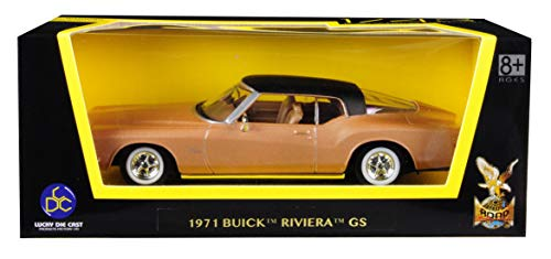 - 1971 Вuick Riviera GS Gold with Black Top 1/43 Diecast Model Car by Road Signature 94252