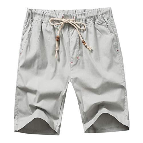 de y Hombres de Cortos Lino de Apparel algodón Verano Gris Sueltos Claro de Gris Pantalones Pantalones Lino Pantalones Pantalones los Playa de Claro STAZSX qwPt0XfX