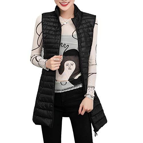 ELFJOY Women's Ultra Light Long Down Vest Black - Vest Womens Down
