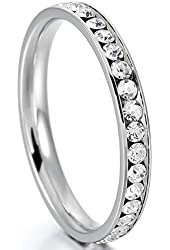 White Stainless Steel Eternity Ring Band CZ Wedding