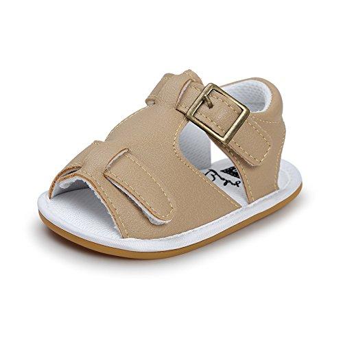 KAKAKI Baby Boys PU Moccasins Soft Rubber Sole Sandals Toddler Shoes Watershoes Khaki,13