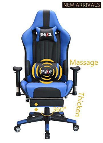 Cheap Large Size Gaming Chair High-Back PC Racing Chair Headrest Lumbar Massager Cushion Ergonomic Swivel PC Racing Chair with Retractable Footrest,PU Leather Executive Home Computer Chair(Black/Blue)
