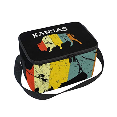 Lunch Box with Kansas Buffalo Bison Print, Lunch Bag Insulated Cooler Picnic Bags with Shoulder Strap for School Picnic