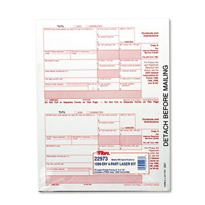 (TOPS Tax/1099 Dividends 2015 Edition, 5-1/2 x 8, Carbonless, 75 Loose Form Sets/Pack by Tops)