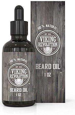 VIKING REVOLUTION Aceite Acondicionador para la Barba –100% Natural, con Aceites de Argán y Jojoba no perfumados – Suaviza y fortalece el crecimiento de la barbalece barba y bigote, sin aroma