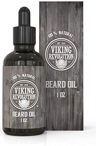 (Viking Revolution Beard Oil Conditioner - All Natural Unscented Organic Argan & Jojoba Oils - Softens, Smooths & Strengthens Beard Growth - Grooming Beard and Mustache Maintenance Treatment, 1 Pack)