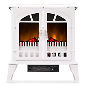 e-Flame USA Jasper Portable Electric Fireplace Stove by (Winter White) - This 23-inch Tall Freestanding Fireplace Features Heater and Fan Settings with Realistic and Brightly Burning Fire and Logs