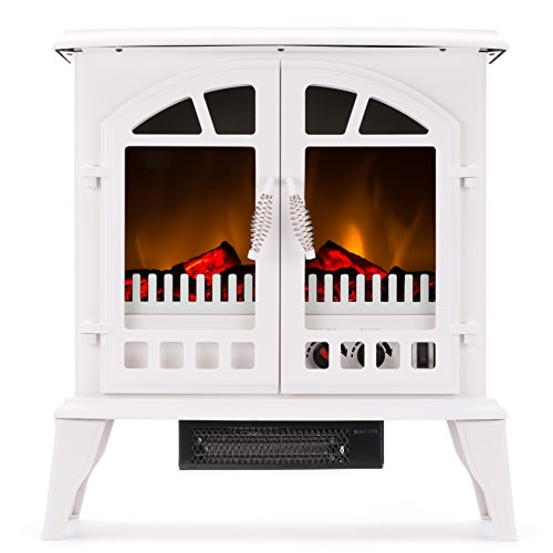 Jasper Portable Free Standing Electric Fireplace Stove by e-Flame USA – 23-inches Tall – Winter White – Features Heater and Fan Settings with Realistic and Brightly Burning Fire and Logs (Indoor Garage Lighter)