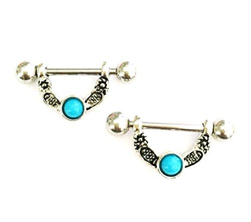 hyidealism pezón anillo bares corazón azul Gem Piercing Joyas par 14G se vende como par