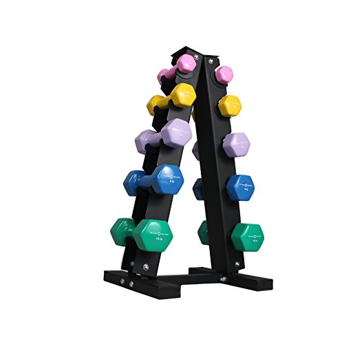 Fitness Republic Vinyl Dumbbell Set (2,4,6,8,10 pound pairs) with 5 Tier Solid Steel Dumbbell Rack - Combo