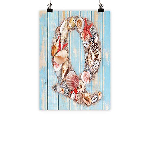 Letter Q Modern Frameless Painting Letter Q Various Nautical Animals Ocean Inspired Tropical Colors Bedroom Bedside paintingPale Blue Ivory Dark Coral - Tropical Triptych