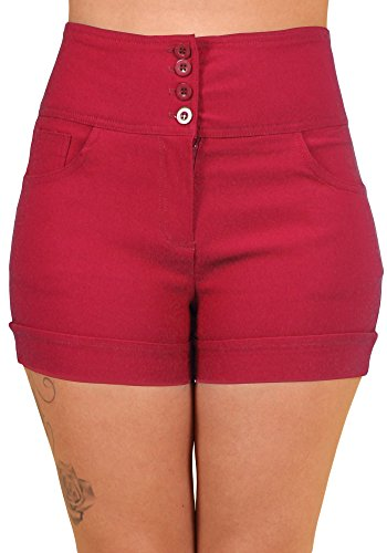 Sidecca Retro 4 Button High Waist Short (Small, Red)