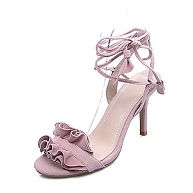 LvYuan Mujer-Tacón Stiletto-Zapatos del club Tira en el Tobillo-Sandalias-Boda Vestido Fiesta y Noche-Ante-Negro Rosa Rojo Red