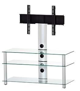 Elbe NEO-1103-C-SLV - Mueble soporte para TV horizontal, 110 x 103 x 44 cm, color cristal y plata