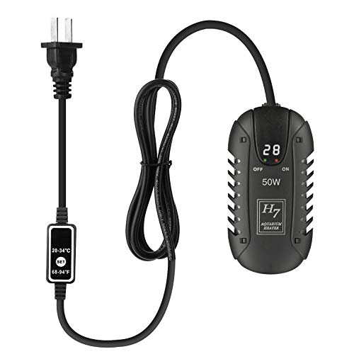 Dewei Submersible Aquarium Heater 50W, Small Fish Tank Heaters with LED Temperature Display and External Temperature Controller for 3-15 Gallon Fish - Display Aquarium