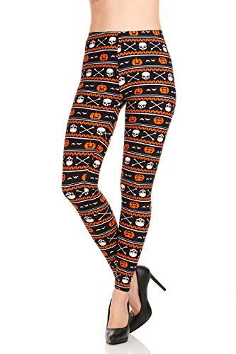 Halloween Leggings for Women, Orange Pumpkin Jack-o-Lantern White Skull Bat Crossbones Print, Black 1X ()