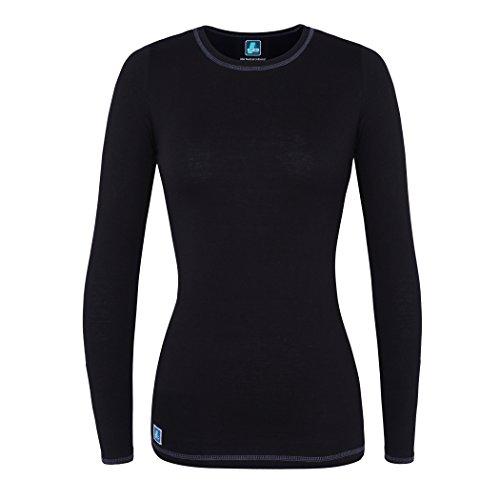 Adar Womens Comfort Long Sleeve Fitted T-Shirt Underscrub Tee- 3400 - Black - L