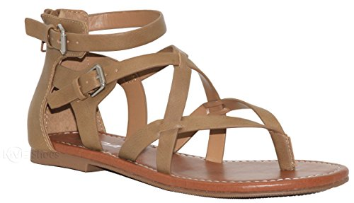 MVE Shoes Women's Gladiator Flat Sandals - Slim Strappy Ankle Buckle -Summe Tie Up Flats Sandals, Taupe pu Size 7