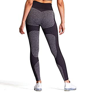 Aoxjox Women's High Waisted Impact Gym Workout Seamless Leggings Yoga Pants (Black Marl/Black, Small)