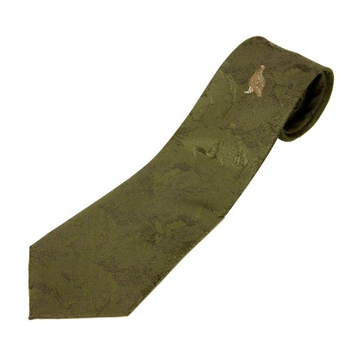 Bisley Hand Made Single Grouse Shooting Tie In Green (Bisley Cover)
