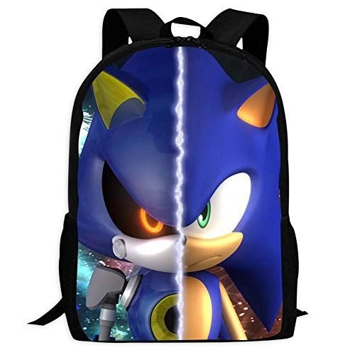 Qufusb Sonic Sonic the Hedgehog Metal Sonic Fashion School Bag for Boys and Girls (Metal Sonic 10 Inch Figure)
