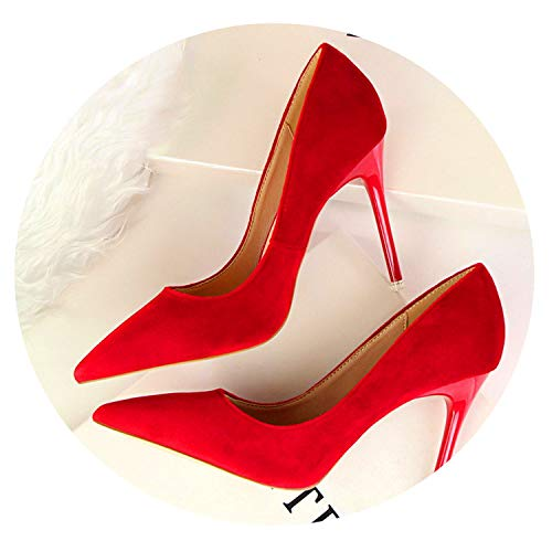 Fashion Women's High Heels Shallow Office Shoes Solid Flock Pointed Toe Women Pumps,Red,7