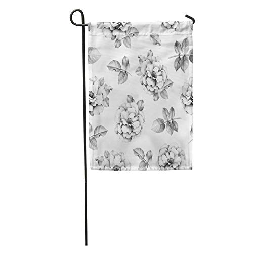 RS-pthr Garden Flag Vintage Pencil Drawings of Rose Flowers Floral Sketch Leaf Botanical Home Yard House Decor Barnner Outdoor Stand 12x18 Inches Flag ()