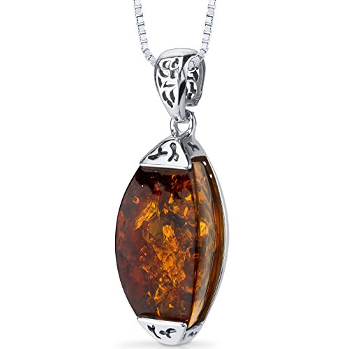 Baltic Amber Gallery Pendant Necklace Sterling Silver Cognac Color ()