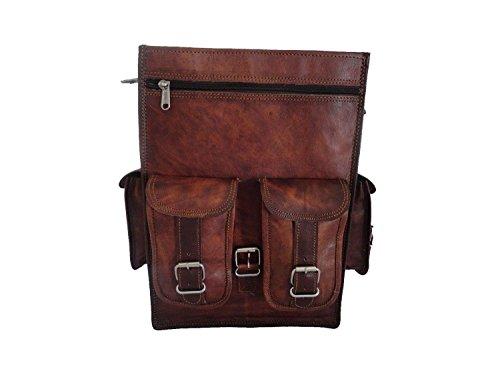 VH Real leather messenger Backpack Bag laptop Satchel briefcase Brown Vintage