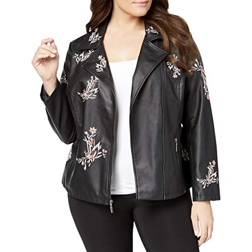 Alfani Womens Plus Spring Faux Leather Motorcycle Jacket Black 0X ()