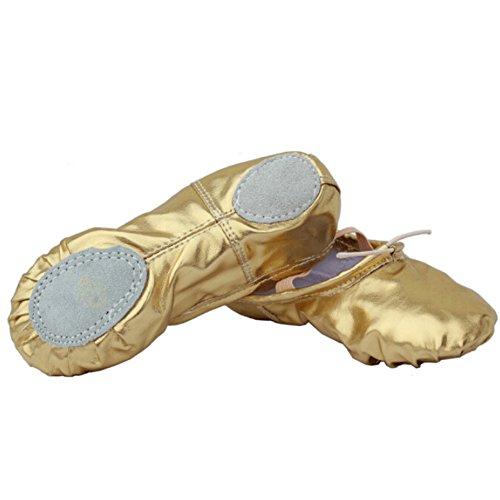 lisianthus002Little Kid Split Sole Bright PU Ballett Hausschuhe Gold