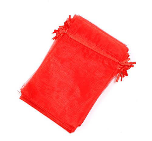 EDENKISS Brand Quality Drawstring Organza Jewelry and Accessory Pouch Bags (Red, ()