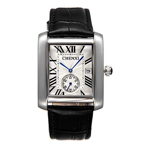Lancardo Antique Men's Square Face Leather Japan Quartz Watch Independent Second Dial Calendar(Black)