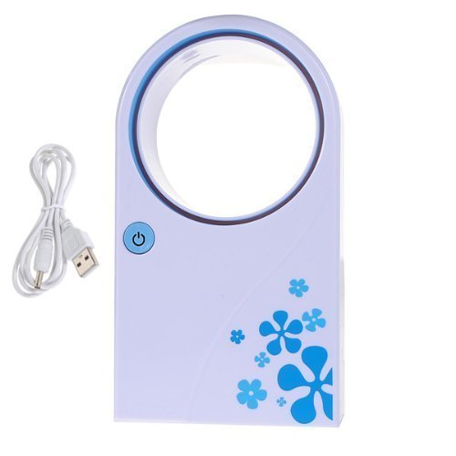 Yosoo Portable Mini USB 2.0 Handheld Flower Pattern Air Condition Bladeless Refrigeration Fans Desktop Cooler Mini USB Battery Powered No Leaf Air Conditioner (Blue)