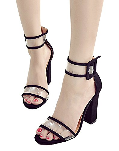 Minetom Women Summer Sexy Open Toe Shoes Sandal High Chunky Heel Sandals With Transparent Ankle Strap Black iFJCMNoWP