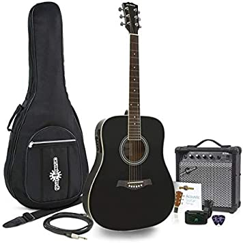 Guitarra Electroacustica Dreadnought + Pack Ampli 15W Negro