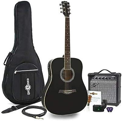 Guitarra Electroacustica Dreadnought + Pack Ampli 15W Negro: Amazon.es: Instrumentos musicales