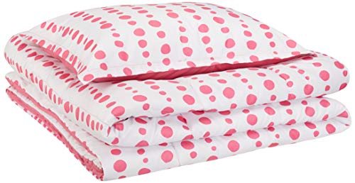 AmazonBasics Kid's Comforter Set - Soft, Easy-Wash Microfiber - Twin, Pink Dotted -