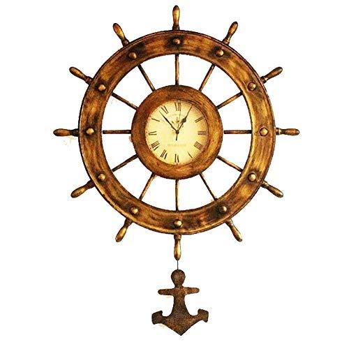 (International Nautical Handcrafted Wooden Ship Wheel Bronze Antique Old Rudder Clock Wall Clock)