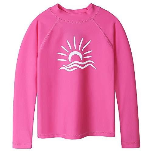 TFJH E Girls' Long Sleeve Rashguard Shirt UPF 50+ Swimwear Bathing Suit, HotPink 4A