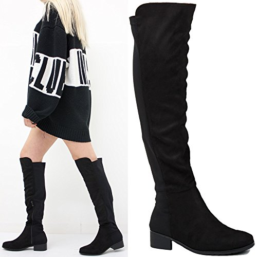 WOMENS LADIES FLAT LOW HEEL OVER THE KNEE HIGH STRETCH ZIP PULL ON BOOTS SIZE Black Faux Suede TgUQWVFUu