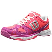 Wilson Rush Pro JR Tennis Shoe (Little Kid/Big Kid), Neon Red/Fiesta Pink/White, 6 M US Big Kid