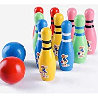 SN Toy Zone Wooden Cartoon Bowling with 10 Pillars and 3 Ball Set with 1 Gel Pen