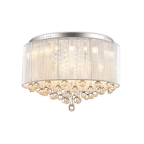 DINGGU Flush Mounted Luxury Contemporary Drum Ceiling Chandelier Light Fixtures with Cylinder Lamp Shade for Bedroom W18
