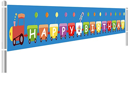 Colormoon Large Train Happy Birthday Banner, Train Themed Birthday Party Decorations for Kids, Trains Birthday Table Decorations, Indoor Outdoor (9.8 x 1.5 feet)