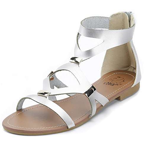 Alexis Leroy Embellished Metallic Gladiator Women Flat Sandals Silver