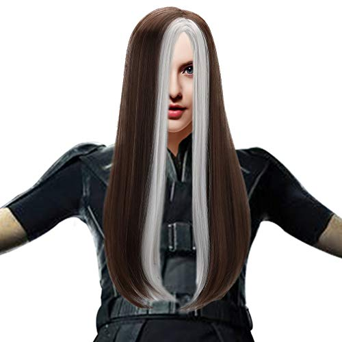 Long Straight Cosplay Rogue Wig Women Girls Synthetic Full Head Anime Hair Wigs for Party Costume Halloween,Silver and Grey
