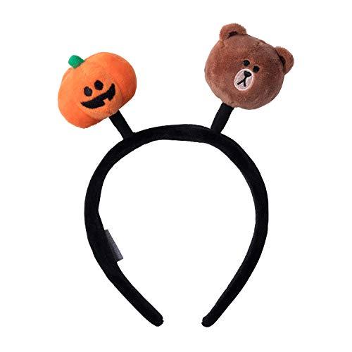 Line Friends Pumpkin Trio Halloween Series - Brown Plush Character Hair Head Bands Accessories, Brown