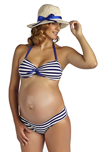 PEZ D'OR Maternity Rimini Textured Marine Striped Bikini M Blue Royal