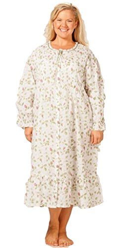 La Cera Women's Plus Size Long Sleeve Robe 3X White/Blooming Vines